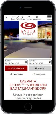 AVITA-Website neu auf dem Iphone